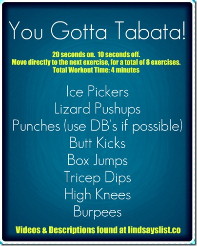 Tuesday Trainer Tabata Example Workout