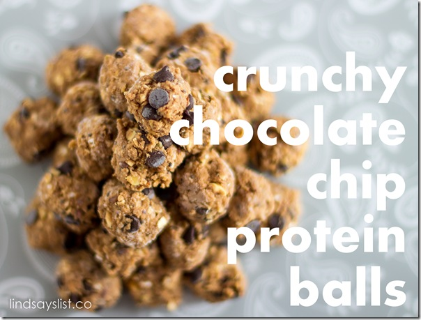 crunchy chocolate chip protein balls via @lindsays_list